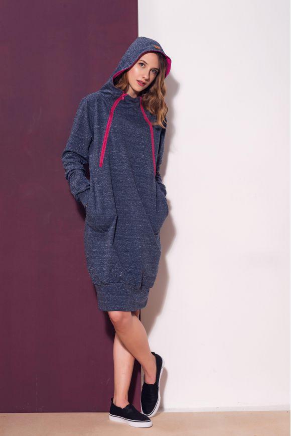 Bluzo-sukienka z miętowym kapturem