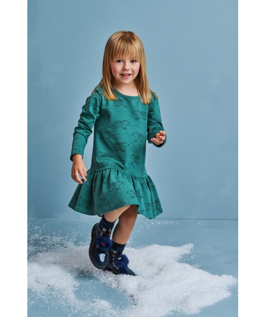 Kids dress TEDDY BEAR teal