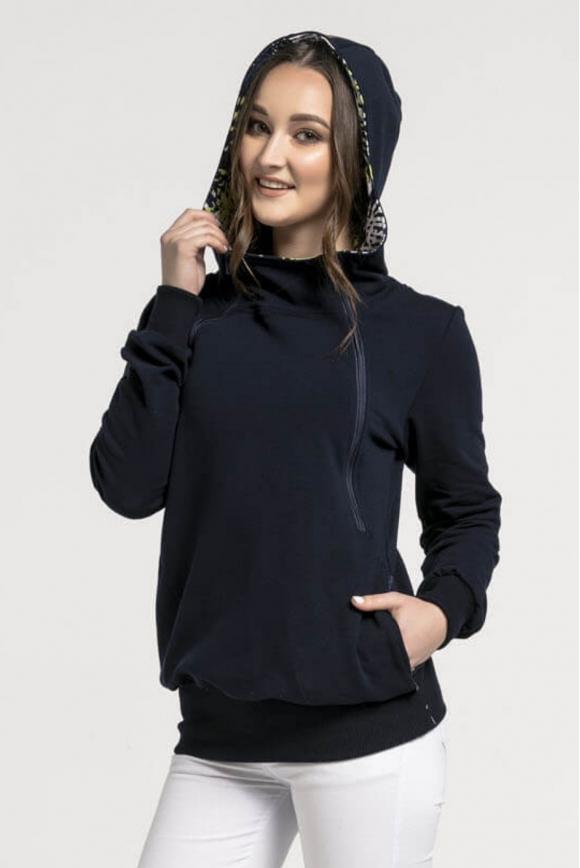 Breastfeeding hoodie NAVY BLUE zipper