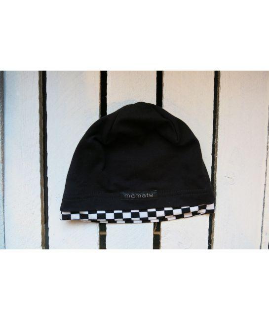 Kids cap BLACK with chcecker