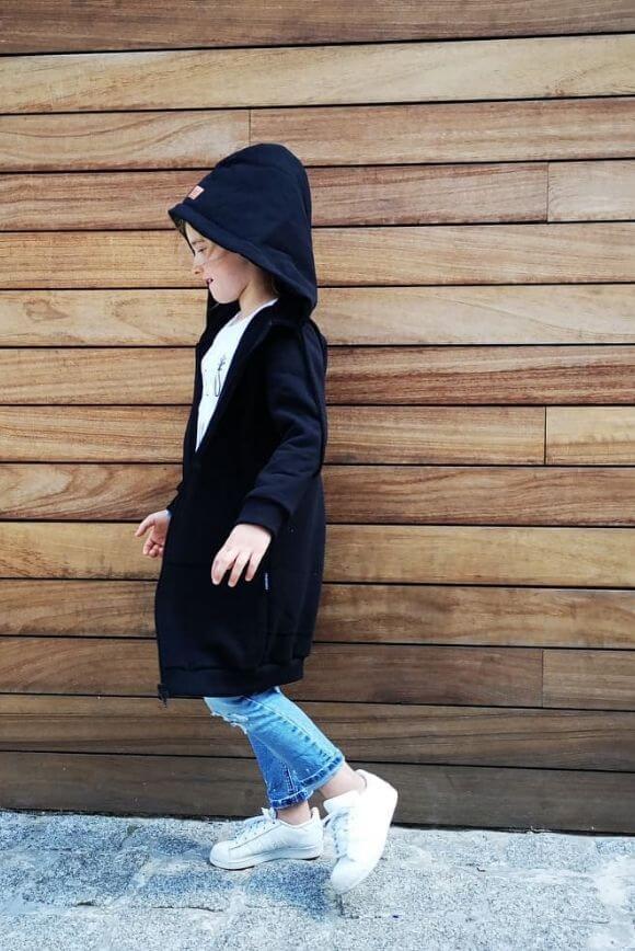 Kids long hoodie BLACK 1