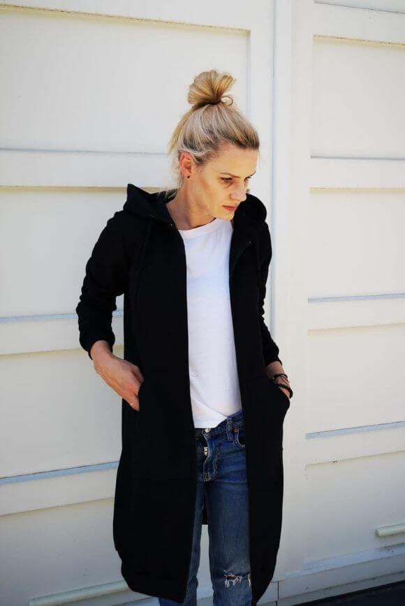 Womens long hoodie BLACK