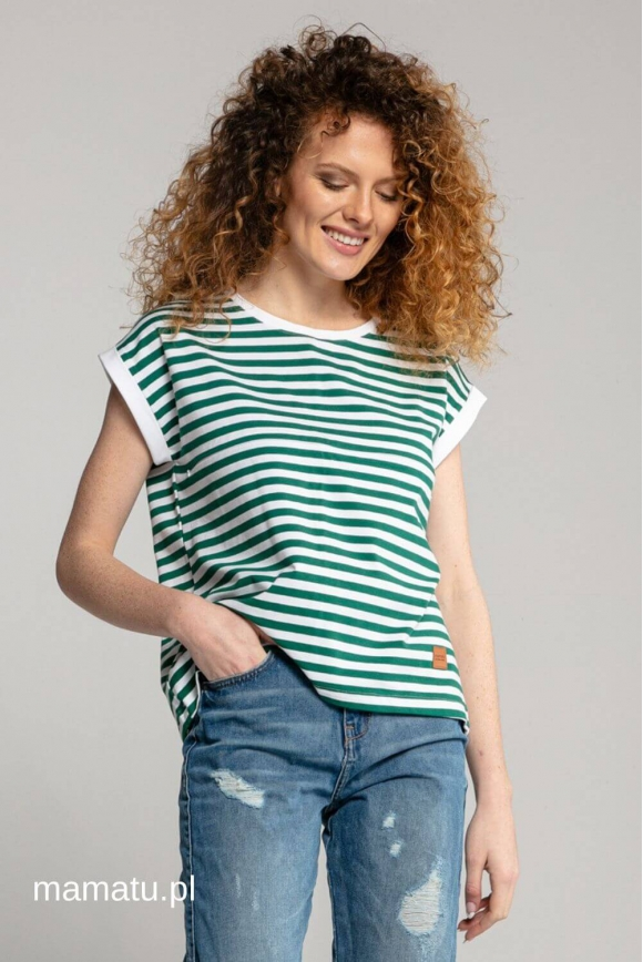 Breastfeeding t-shirt STRIPES green