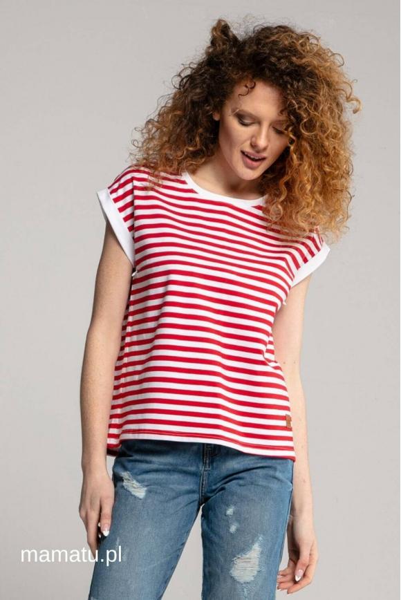 Breastfeeding t-shirt STRIPES red